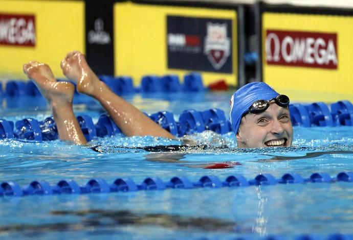 seletiva olímpico americana - Katie Ledecky após garantir a vaga na Rio 2016 e quase quebrar o próprio recorde mundial dos 400m livre (Foto: Erich Schlegel / USA Today / Reuters)