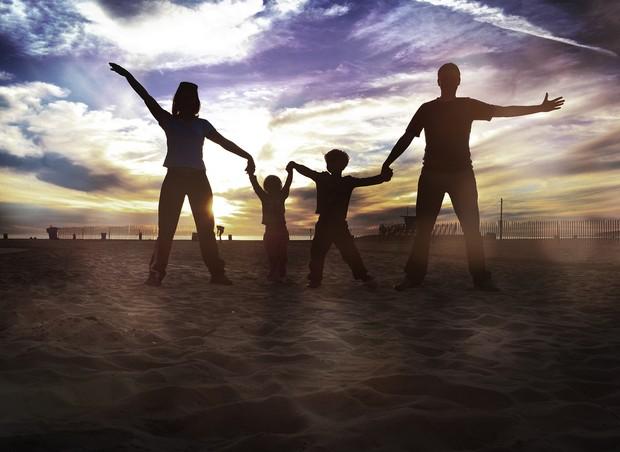 A família toda em Santa Mônica, na Califórnia (EUA) (Foto: Arquivo Pessoal)