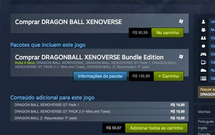 Adicione Dragon Ball Xenoverse ao carrinho (Foto: Reprodução/Felipe Vinha)