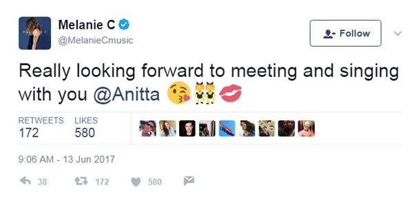 Mel C manda recado para Anitta (Foto: Twitter/Reprodução)