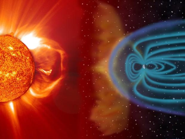 Interação de raios cósmicos com o escudo magnético da Terra (Foto: reprodução)