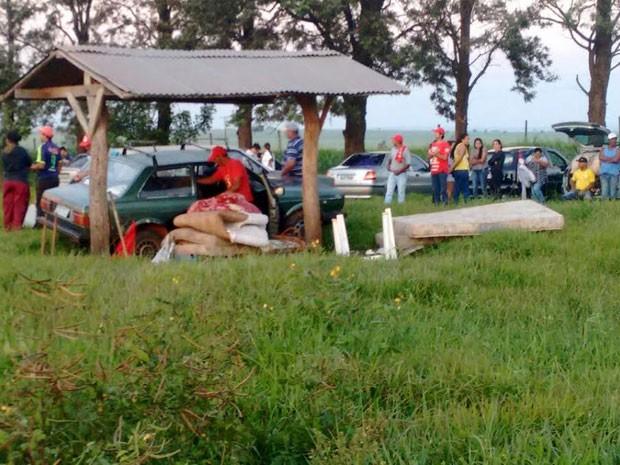 Integrantes do MST invadiram nesta sexta-feira (1º) a Fazenda Nazaré, em Marabá Paulista (Foto: Clédson Mendes da Silva/Cedida)