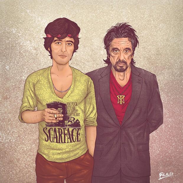 Versões jovem e velha de Al Pacino combinam elementos de 'Scarface', um dos maiores filmes do ator, em trabalho do colombiano Fulaleo (Foto: Behance/Fulaleo)
