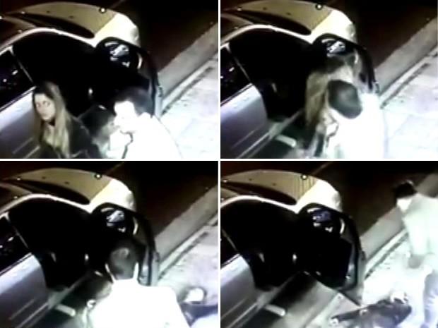 Mulher estava na frente do clube quando foi agredida por cotovelada (Foto: Reprodução/TV TEM)