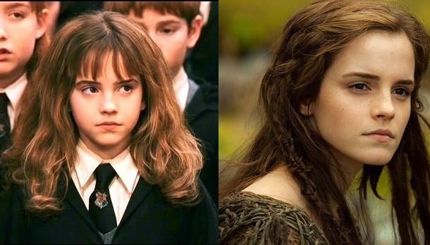 Emma Watson em Harry Potter e a Pedra Filosofal e No (Foto: Divulgao)