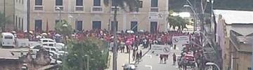 Professores em greve protestam no Centro da capital (Edson Cândido/Arquivo pessoal)