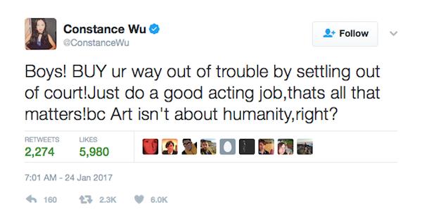 A crítica de Constance Wu a Casey Affleck (Foto: Twitter)