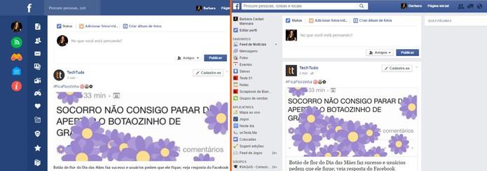 Facebook Flat muda o visual da sua rede social (Foto: Reprodução/Barbara Mannara)