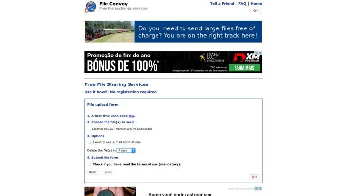 Site Convoy oferece uma série de recursos para quem deseja compartilhar (Foto: Reprodução/André Sugai)