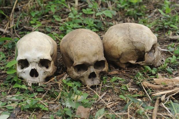 Caveiras, esqueletos e corpos em decomposição foram achados perto da cidade de Ibadan, no sudoeste da Nigéria (Foto: Pius Utomi Ekpei/AFP)