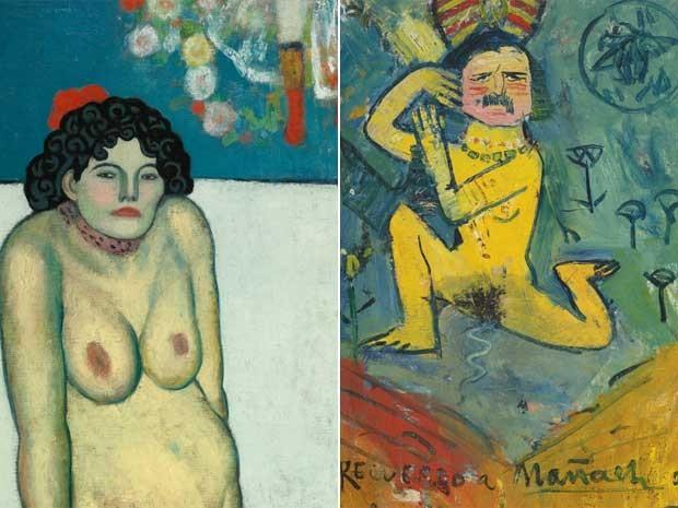 'La Gommeuse' é um nu de uma artista de cabaré, pintado em 1901, quando Picasso tinha 19 anos. Obras escondia outra tela (Foto: Reprodução / Sotheby's)