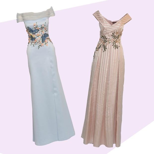 Da esquerda para a direita: 1. Se a noiva permitir estampas e texturas, apostar em um rico bordado na parte superior do vestido é uma boa aposta. Este modelo azul pastel é uma bela inspiração. Da Patricia Bonaldi. 2. Aos bordados do vestido pode ser acres (Foto: ImaxTree)
