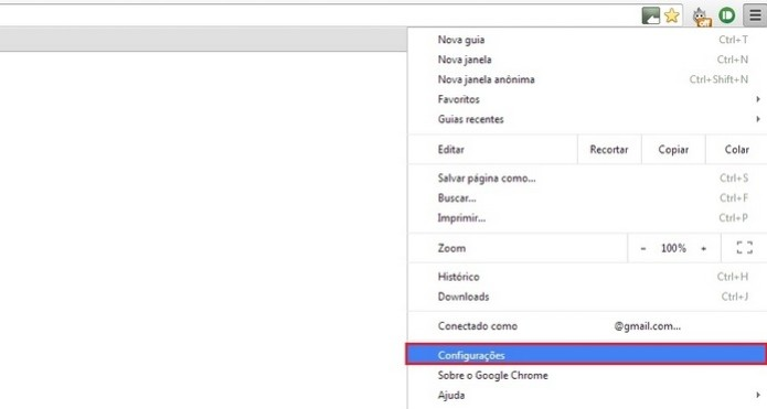 """Opção """"Configurações"""" no menu do Chrome em destaque (Foto: Reprodução/Raquel Freire)"""