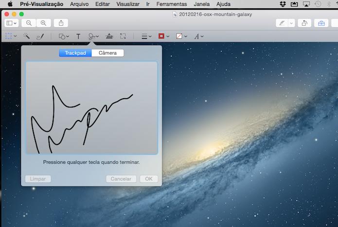 Inserindo assinaturas em documentos e fotos com o trackpad de um MacBook (Foto: Reprodução/Marvin Costa)
