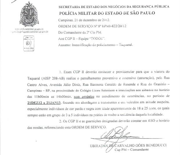 Ordem de serviço enviada pela Polícia Militar em Campinas (Foto: Reprodução)