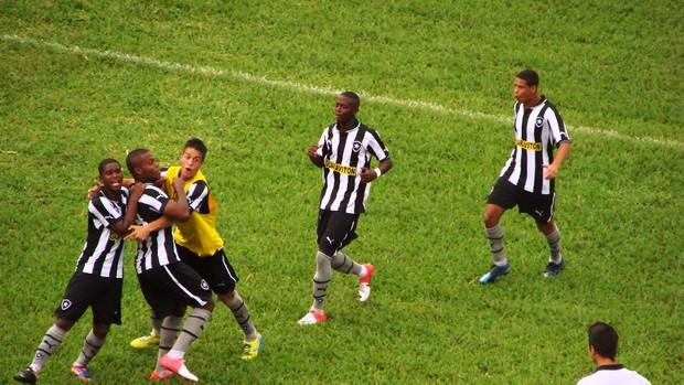 Vinicius é abraçado pelos companheiros após o gol de pênalti do Botafogo (Foto: Filipe Rodrigues/ Globoesporte.com)