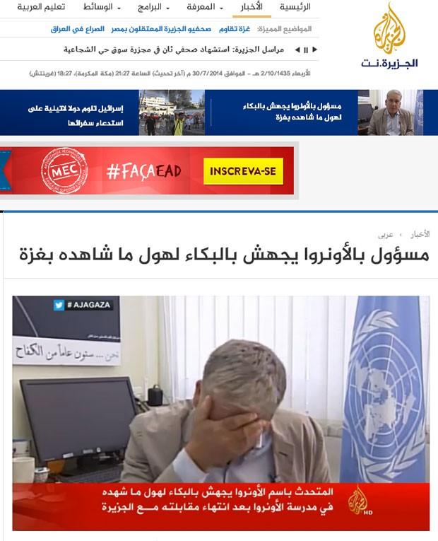 Porta-voz da UNRWA chora em entrevista à Al Jazeera (Foto: Reprotução/Al Jazeera)