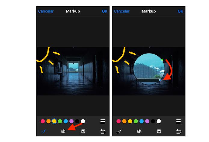 Edições para desenho e lupa em imagens através do iOS 10 (Foto: Reprodução/Marvin Costa)