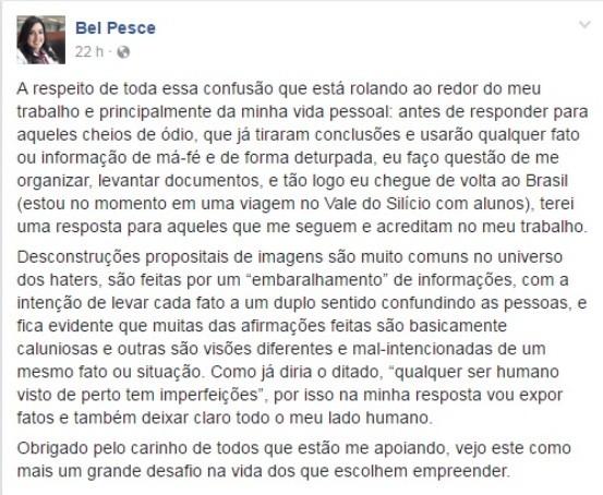 Texto publicado por Bel no Facebook (Foto: reprodução/Facebook)