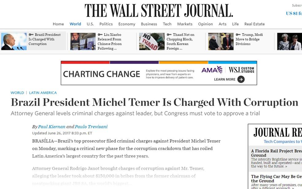 'The Wall Street Journal' também noticiou denúncia contra Temer (Foto: Reprodução/The Wall Street Journal)