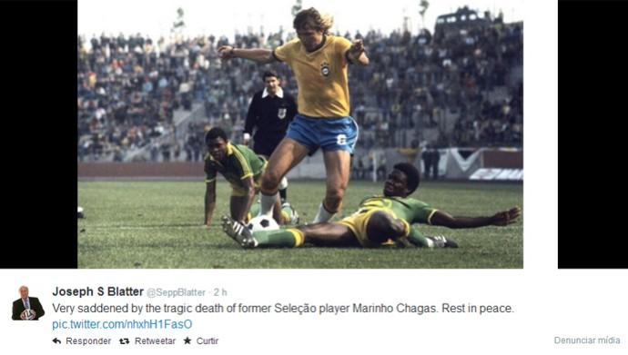 Joseph Blatter lamenta morte de Marinho Chagas (Foto: Reprodução)