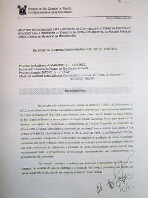 Relatório Final da Auditoria Extraordinária nº 001/2012 da Control do RN (Foto: Ricardo Araújo/G1)