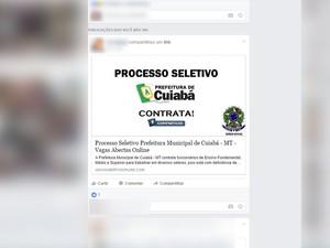 Anúncio fala sobre vagas na prefeitura de Cuiabá (Foto: Reprodução/Facebook)