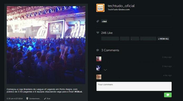 Ao clicar sobre a imagem, é possível vê-la em tamanho grande e acessar o perfil do usuário  (Foto: Reprodução/Taysa Coelho)
