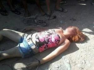 Mulher foi espancada por populares (Foto: Jéssica Santanta / Arquivo Pessoal)