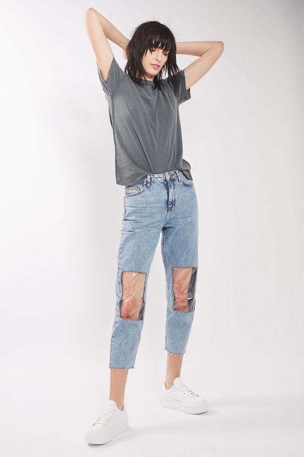 Modelo jeans com plástico só nos joelhos - também esgotou!  (Foto: Divulgação)