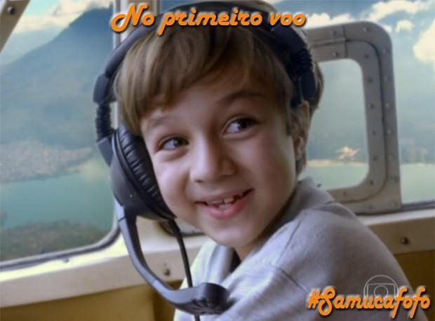 Samuca no avião (Foto: Flor do Caribe/TV Globo)