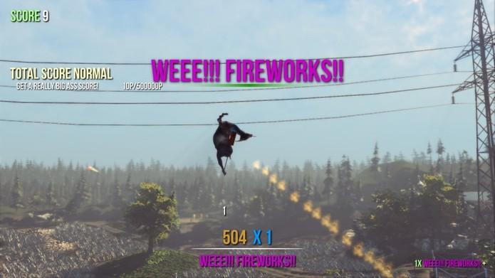 Exemplo de uma das formas de adquirir pontos em Goat Simulator (Foto: Divulgação)