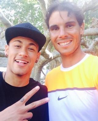 Neymar Rafael Nadal selfie Barcelona tênis (Foto: Reprodução/Twitter)