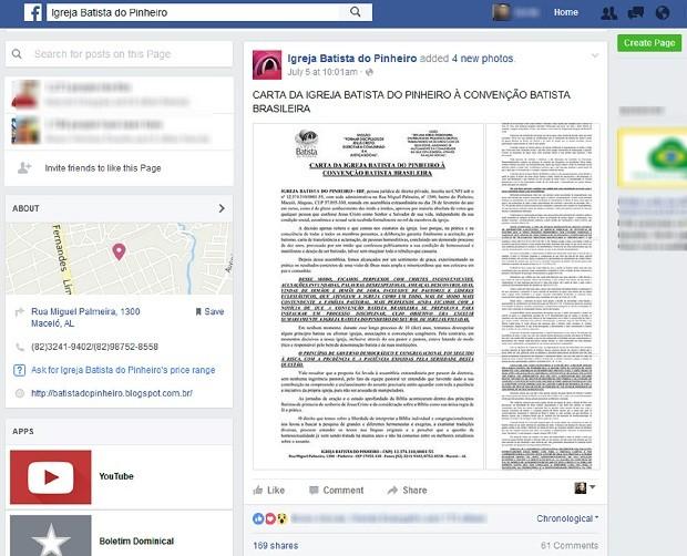 Igreja publicou nas redes sociais carta que enviou à Convenção Batista, onde explica decisão de batizar homossexuais (Foto: Reprodução/Facebook)