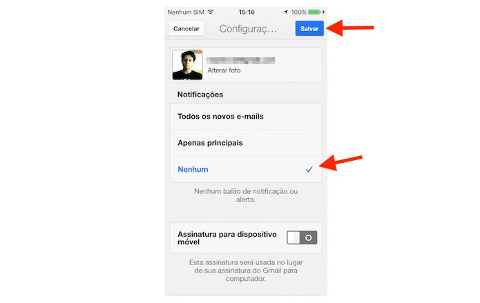 Desativando as notificações de novas mensagens no Gmail para iPhone (Foto: Reprodução/Marvin Costa)