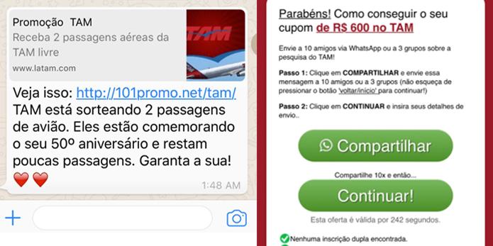 Golpe do WhatsApp prometia descontos em passagens aéreas (Foto: Reprodução/Fábio Assolini)