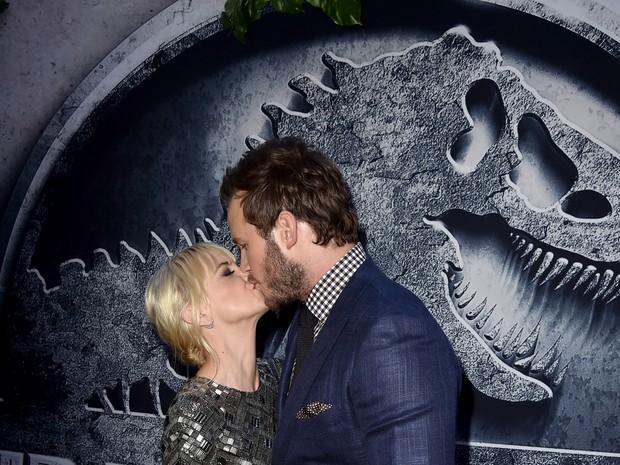 Anna Faris e Chris Pratt em première de filme em Los Angeles, nos Estados Unidos (Foto: Kevin Winter/ Getty Images/ AFP)