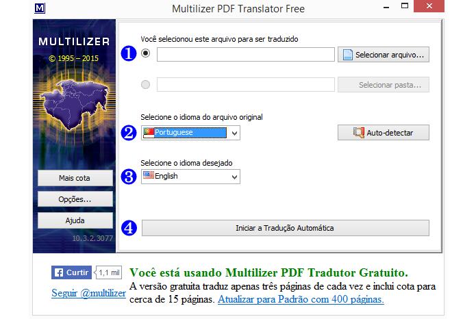 Versão gratuita possui limite de documentos para tradução (Foto: Reprodução/Multilizer)