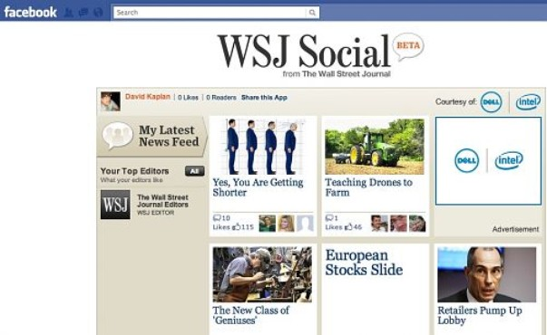screenshot de WSJ Social