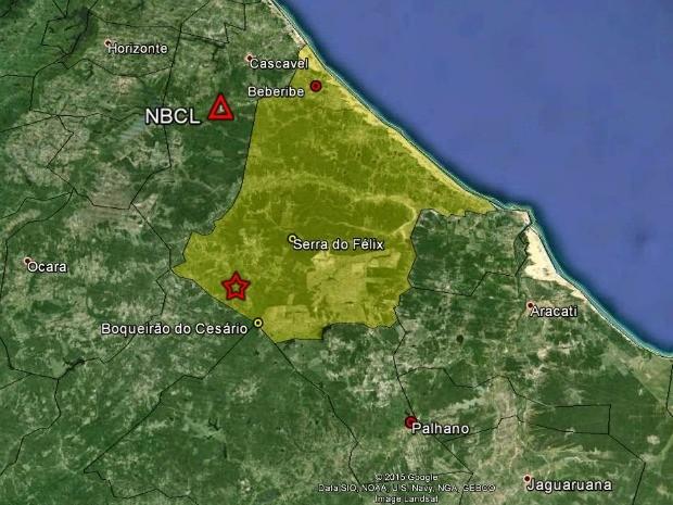 Mapa registra epicentro do tremor em Beberibe (Foto: Laboratório de Sismologia URFN/Google/Reprodução)