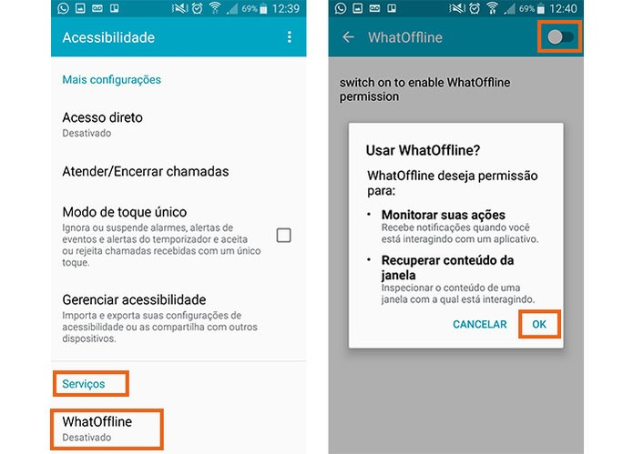 Confirme o acesso ao Android nas configurações (Foto: Reprodução/Barbara Mannara)