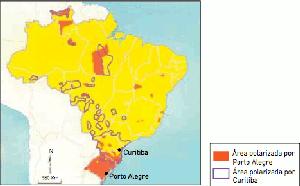 Mapa com áreas polarizadas por Porto Alegre e Curitiba (Foto: Reprodução/UERJ)