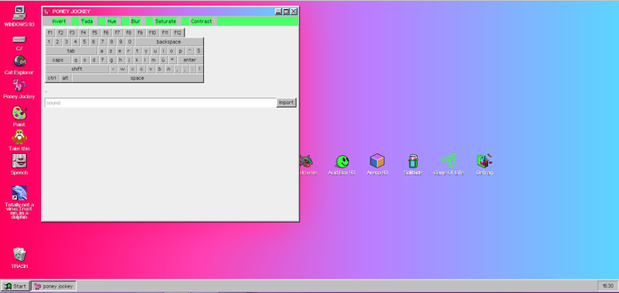 Poney Jockey adiciona efeitos psicodélicos e confusos ao Windows 93 (Foto: Reprodução/Elson de Souza)