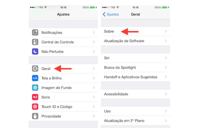 Acessando as informações de um iPhone ou iPad através das configurações do iOS (Foto: Reprodução/Marvin Costa) (Foto: Acessando as informações de um iPhone ou iPad através das configurações do iOS (Foto: Reprodução/Marvin Costa))