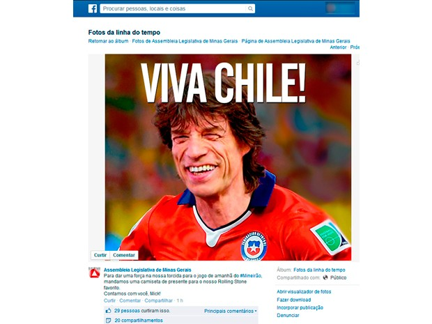 """Assembleia de Minas posta foto de Mick Jagger com blusa do Chile """"para dar uma força"""" para a seleção brasileira (Foto: Reprodução/Facebook)"""
