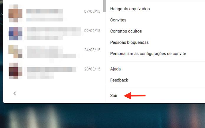 Opção para deslogar o Google Hangouts do Google Chrome (Foto: Reprodução/Marvin Costa)