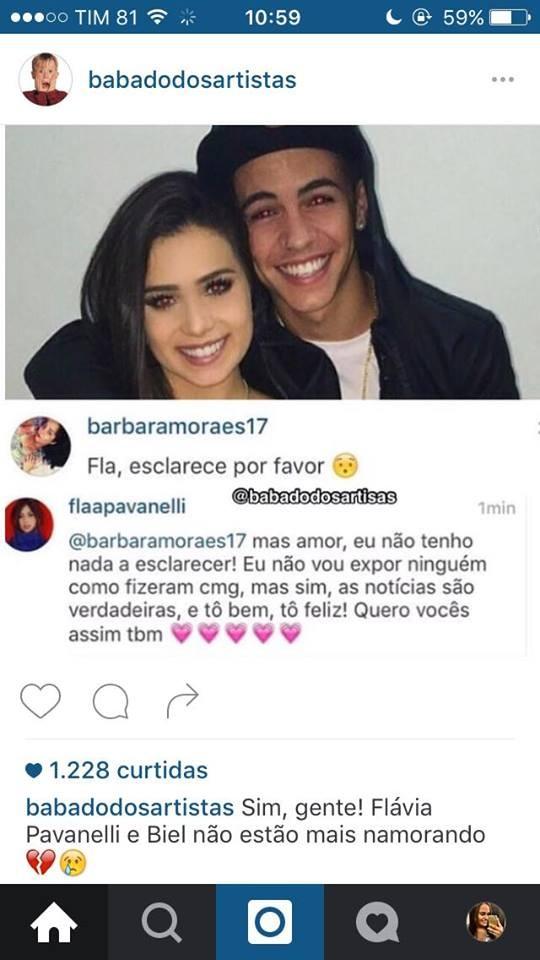 Flávia Pavanelli confirma término d enamoro com Mc Biel (Foto: Reprodução/Instagram)