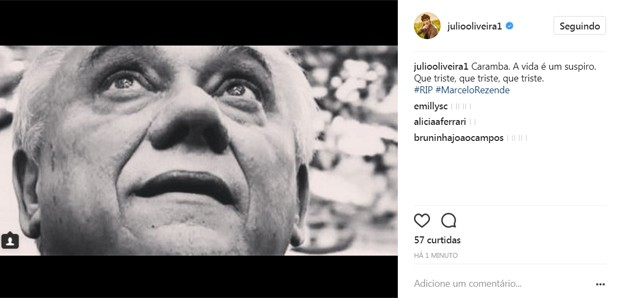 Júlio Oliveira lamenta morte de Marcelo Rezende (Foto: Reprodução/Instagram)