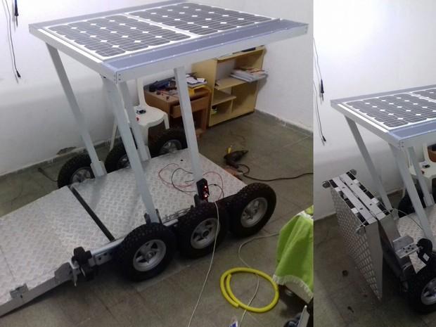 Carro coberto que permite ao deficiente físico utilizar cadeira de rodas para passear na área (Foto: Divulgação / IFRN)