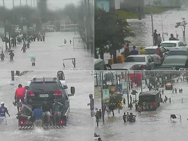 Pontos de alagamento deixam Avenida Recife congestionada (Foto: Reprodução/CTTU)